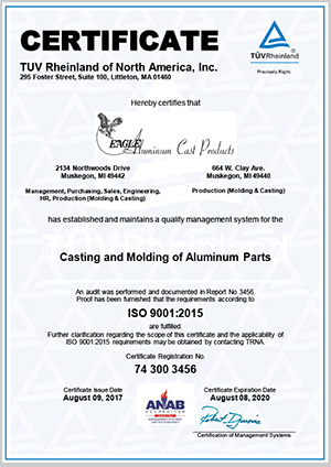Eagle Aluminum Cast Products - ISO 9001:2015 Certificate